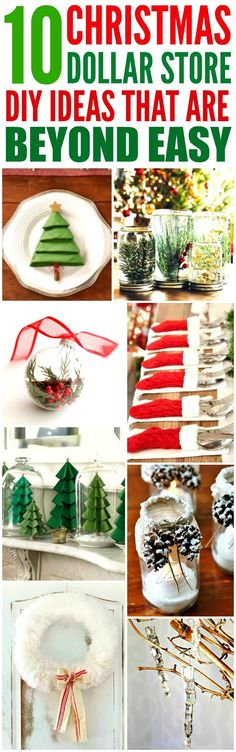 These 10 Dollar Store Christmas Decor Ideas are THE BEST! I'm so happy I found these GREAT ideas! Now I have some cute and affordable ways to decorate my home! Definitely repinning!