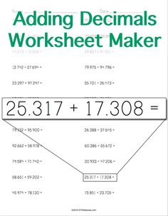 math worksheet : decimals worksheets multiplying decimals and decimal on pinterest : Addition Worksheet Generator