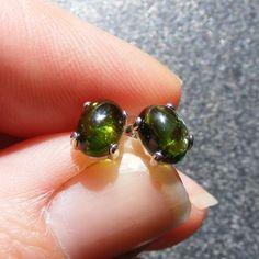 Sterling Silver Stud Earrings with pretty Tourmaline 7x5mm Gemstones - Verdite £22.50