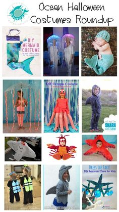 Ocean Halloween costumes roundup for kids, featuring our DIY Mermaid Tail and DIY Mermaid Tiara (guest post) Just like our new children's book, Shalloween, this roundup is full of fun, ocean-themed Halloween spirit that will delight all ages. Mermaid Tiara, Diy Mermaid Tail, Themed Halloween Costumes, Spirit Halloween, Costume Poisson, Baby Lobster Costume, Carnaval Costume, Octopus Costume, Starfish Costume