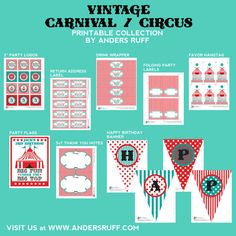 Vintage Carnival Circus Party Printables Collection - Aqua Red