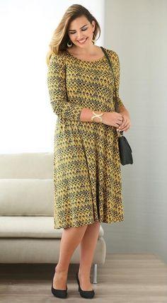 Achats de Vêtements, Linge de Maison, Mobilier et Déco sur 3Suisses France.  Jolie robe imprimée évasée manches longues femme Exclusivité 3SUISSES -  Imprimé ... ce83eeee0eb4