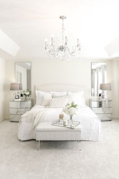 76 Luxury All White Bedroom Decor Ideas – housedecor White Couch Living Room, White Bedroom Design, All White Room, White Bedroom Decor, White Rooms, White And Mirrored Bedroom Furniture, Bedroom Ideas, Mirrored Nightstand, Bedroom Designs