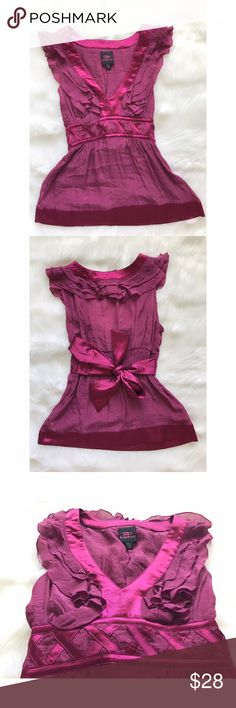 BEBE FUCHSIA CRISSCROSS RUFFLED TIE TOP ♡ 100% AUTHENTIC. ♡ WORN ONCE. ♡  NO DEFECTS + DAMAGES. ♡ SIZE XS. ♡ VERY FEMININE & FLUTTERY! ♡ POSHMARK PRICE FIRM. ♡ NO TRADES. bebe Tops Blouses