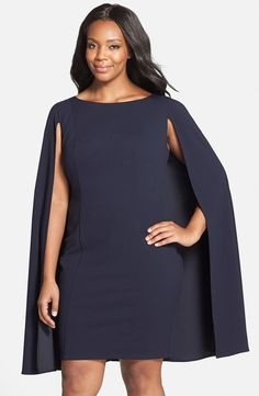NEW ADRIANNA PAPELL Navy Blue Cape Poncho Stretch Crepe Sheath LBD Dress