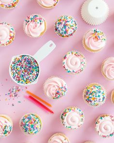 Ever wondered, how many sprinkles are needed to cover your cupcakes? We've got the answer for you! Just like in our sprinkle cake post, we show you a few different coverage options and how much is used for a dozen and more cupcakes. Don't be left over buying anymore, use our sprinkle cupcakes chart to see exactly how much you need for full coverage, rolling the edges for a perfect border, and side trimmed dipped sprinkle cupcakes! #sprinklecupcakes #rainbowcupcakes #cupcakesprinkles
