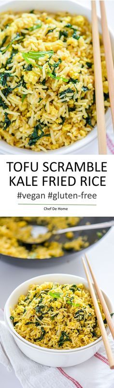 Vegan Tofu Scramble Kale Fried Rice- Vegan kale fried rice with seasoned scrambled tofu that tastes like Asian egg fried rice.. only healthier!