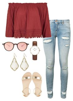 """""""ootd"""" by helenhudson1 ❤ liked on Polyvore featuring Off-White, Topshop, Daniel Wellington, Kendra Scott and Ray-Ban"""
