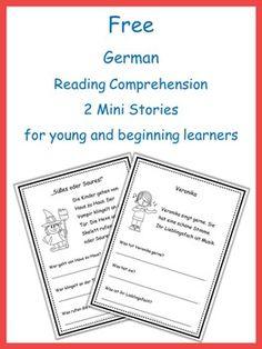 German Reading Comprehension - 2 Mini Stories