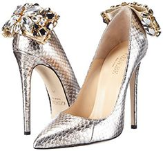 GEDEBE Women's VERONIQUE 02 Court Shoes Silver Silber (PLATIN SNAKE) 6: Amazon.co.uk: Shoes & Bags
