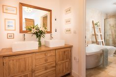 Twin basins and freestanding bath with wet room shower ensuite Wet Room Shower, Freestanding Bath, Basins, Wet Rooms, Architect Design, Devon, Twin, Contemporary, Luxury