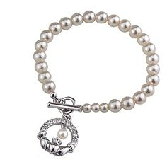 Celtic Aer - Bridal Jewelry - Claddagh Pearl Bracelet with Crystals--would've loved to have for my wedding day!