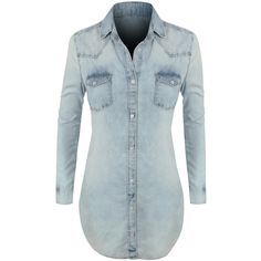 LE3NO Womens Classic Loose Fit Chambray Jean Denim Shirt Dress ($37) ❤ liked on Polyvore featuring dresses, tops, shirts, slimming dresses, oversized shirt dresses, pocket dress, loose dresses and oversized t-shirt dresses
