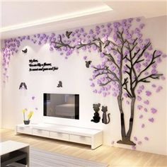Large Size Couple Tree Mirror Wall Stickers TV Backdrop DIY Acrylic Autocollant Mural Home Decor Living Room Wall Decals Wall Shelf Decor, Wall Stickers Living Room, Creative Walls, Wall Decor Pictures, Wall Decor, Tree Wall Stickers, Tree Wall, Home Decor, Mirror Wall Stickers