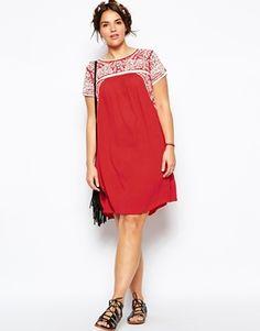 Image 4 ofASOS CURVE Premium Embroidered Swing Dress
