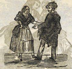 Xilografía en la cabecera de cada título, una mujer y un hombre de pie