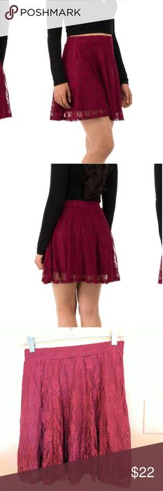 "Lace skater skirt Rock the town in this trendy yet elegant maroon, lace skater skirt. Never worn before and new with tags. Size medium. When laid flat it measures ~ 13"" across the waistline (see last photo). sociology Skirts Mini"
