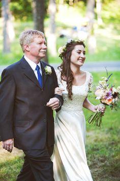 Detailed bodice wedding dress with chiffon skirt. A DIY Maryland Wedding: Natalie & Brynn