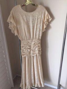 80s ALBERT NIPON 100% silk GREAT GATSBY lawn dress HONG KONG feminine size 8…