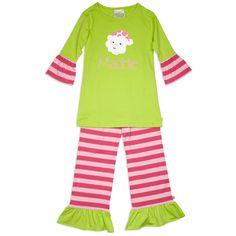 Girls Lime Pink Stripe Pant Set