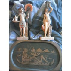 Vintage Egyptian Copper Tray with BONUS Egyptian Statue Set