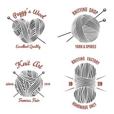 Knitting labels and knitwear logo by Microvector on @creativemarket
