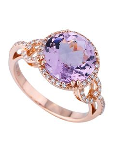 Pink / purple Amethyst and Diamond  rose gold Ring