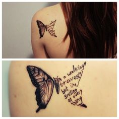 "Im thinkin one half as an angel wing and the other half ""One day I'll fly with you..."" and initials and dates. Different font...good idea though"