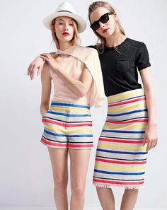 Stripes x (Shop our colorful jacquard striped short and skirt via the link in our bio. Fashion 2017, World Of Fashion, Fashion Outfits, J Crew Style, Mom Style, Outfits With Hats, Fashion Images, Striped Shorts, Spring Summer Fashion