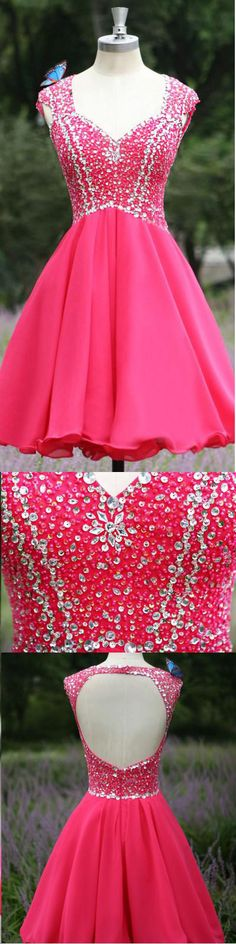 New Arrival Hot Pink Cap Sleeves Backless Homecoming dresses,Rhinestones Open Back Short Prom Dresses Homecoming Dress,Cocktail Dresses,Party Gowns http://dresscomeon.storenvy.com/collections/835282-homecoming-dresses/products/13209327-new-arrival-hot-pink-cap-sleeves-backless-homecoming-dresses-rhinestones-ope