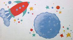 mural luna y coete