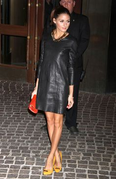 Olivia Palermo Leather Dress & Pumps