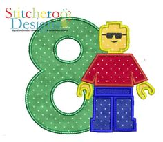 Lego Man Birthday #8 Applique.  You can get any number. She did one for me with round eyes instead of sunglasses