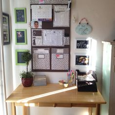 A Mommy's Home Office! I call this the BRAIN of my home-where all things begin...Wall organizational piece can be bought at thirtyonegifts.com Love this wall organizational piece! It's the ❤ of home brain!! Ha!
