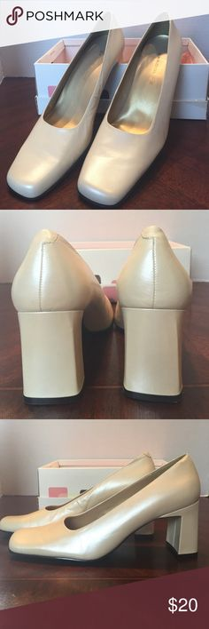 NIB Bandolino Porcelain Cream Kidskin Pumps  8.5 M This is a new pair of Bandolino Porcelain Cream Colored Kidskin Pump with 3 inch heel.  They are gorgeous! They come with the original box. From a smoke free home. Bandolino Shoes Heels