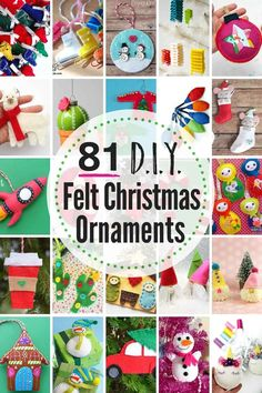 81 Best DIY Felt Ornaments DIY for Christmas. Plenty of DIY felting projects to pick from for beginners and advanced users. You will not be bored with these felt projects before the holidays. Felt Christmas Decorations, Christmas Ornament Crafts, Felt Ornaments, Christmas Projects, Holiday Crafts, Christmas Crafts, Felt Projects, Beaded Ornaments, Outdoor Christmas