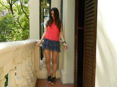 polka dots skirt and red blouse #polkadots #skirt #top #redtop #blouse #redblouse #madrid #spring