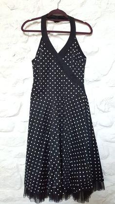 TOPSHOP Ladies Polka Dot Spotty Halterneck Skater Midi Dress Size 10 Black VGC #Topshop #50sRockabilly #Party