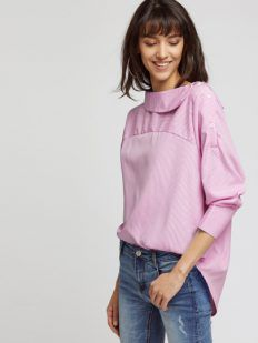 Pink striped blouse with ruffles - Tina Chic