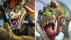DeviantART artist David De Leon Luis has a slightly different notion of Bowser, Yoshi and Super Mario. A Yoshi with T-Rex jaws and of that size would stomp through Mushroom Kingdom with ease, leaving only completely destroyed Koopa castles behind. Gamer's Guide, When Im Bored, Geek Art, Geek Culture, T Rex, Super Powers, Yoshi, Bowser, Concept Art