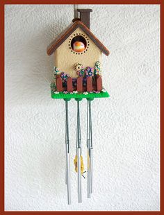 Wind Chime Cottage Birdhouse by RFColorfulCreations on Etsy, $16.00