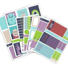 This bundle includes SEVEN (7) sheets: 1 checklist/functional sheet, 1 ombre box heart checklist sheet, 1 full box sheet, 1 half box sheet, 1 headers/weekend banner sheet, 1 washi sheet, and 1 little things sheet.  9 decorative full boxes 9 ombre check boxes 9 half boxes 15 washi strips of various sizes 21 little things 24 headers (some hidden in sold colored stripes that run across sticker sheets) 7 check lists 4 page flags 6 icons 5 decorative stickers 1 weekend banner  Date coverups…