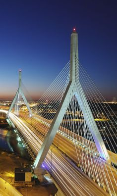 """Zakim Bridge, Boston, MA; I'd left Boston when this """"Big Dig"""" was in the processes of becoming. Production had stopped for awhile after 9/11 as a safety precaution."""