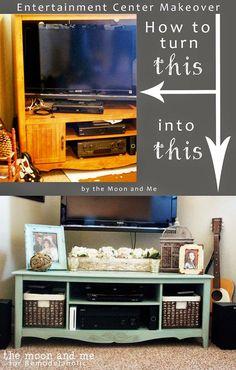 DIY Furniture Hacks |  Entertainment Center into a TV Console Table  | Cool Ideas for Creative Do It Yourself Furniture | Cheap Home Decor Ideas for Bedroom, Bathroom, Living Room, Kitchen - http://diyjoy.com/diy-furniture-hacks