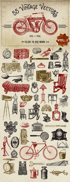 This is a collection of vintage vector graphics that have been carefully chosen from a variety of sources from the 1800's. They are the real deal, and are perfectly imperfect as they haven't been alte