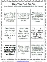 Math Coach's Corner: Place Value 'I Can' Cards and Choice Board