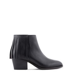 Fringed leather ankle boot
