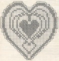 Crochet Tablecloth Pattern, Filet Crochet Charts, Cross Stitch Heart, Crochet Blocks, Diy And Crafts, Diagram, Valentines, Knitting, Crochet Hearts
