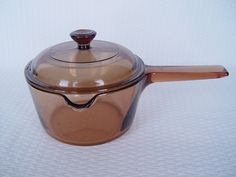 Amber Corning Visions Saucepan With Lid, 1 Liter, Made in USA, Vintage Cookware by GandTVintage on Etsy
