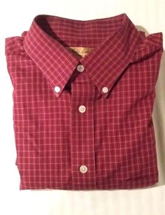 NWOT Roundtree & Yorke Gold Label Large Red Navy Plaid Men's Long Sleeve Shirt #RoundtreeYorke #ButtonFront